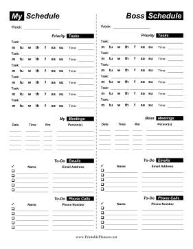 Printable Assistant Weekly Planner