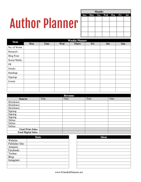 Printable Author Planner