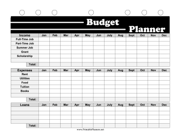 Printable BW Student Planner Budget Planner