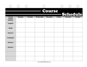 Printable BW Student Planner Course Schedule