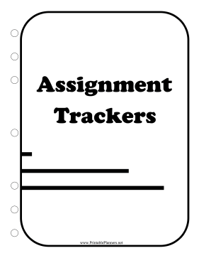 Printable BW Student Planner Cover Assignment Trackers