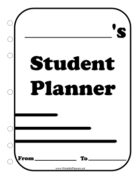 Printable BW Student Planner Cover Page
