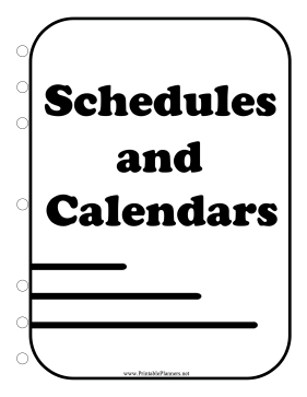 Printable BW Student Planner Cover Page Schedules