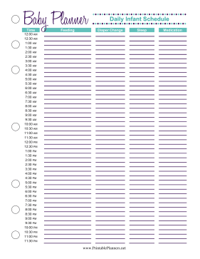 Printable Baby Planner Infant Schedule