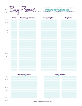 Printable Baby Planner Pregnancy Schedule