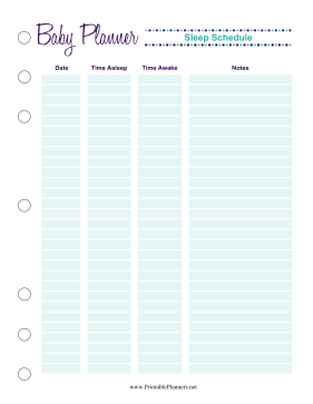 Printable Baby Planner Sleep Schedule