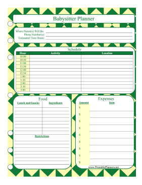 Printable Babysitter Planner Day