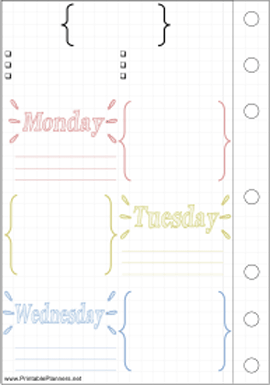 Printable Bullet Journal Mon-Wed