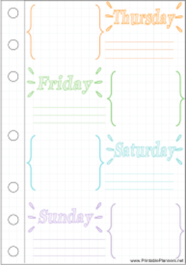 Printable Bullet Journal Thurs-Sun