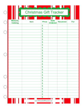 Printable Christmas Gift Tracker