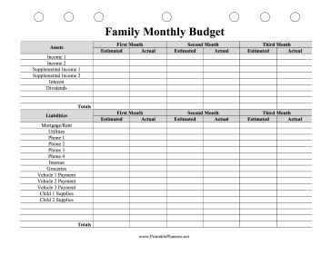 Printable Family Monthly Budget Planner
