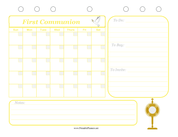 Printable First Communion Event Planner