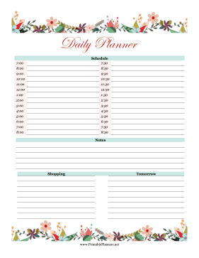 Printable Floral Daily Schedule