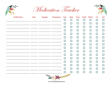 Printable Floral Medication Tracker