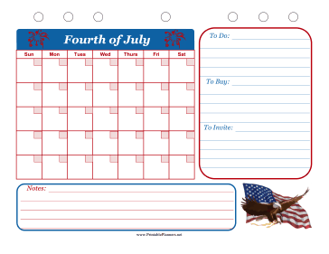 Printable Fourth of July Event Planner