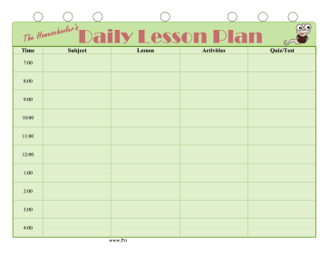 Homeschool Daily Lesson Plan - Blank daily lesson plan template