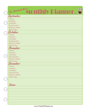 Printable Homeschool — Monthly Planner Fall