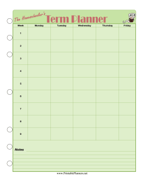 Printable Homeschool — Term Planner