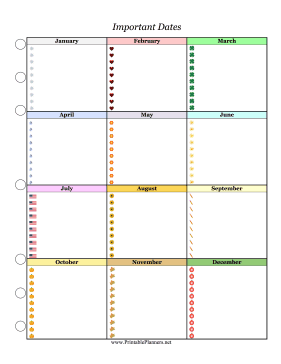 Printable Important Dates Planner Colorful