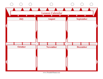 Printable Lesson Calendar - July to December