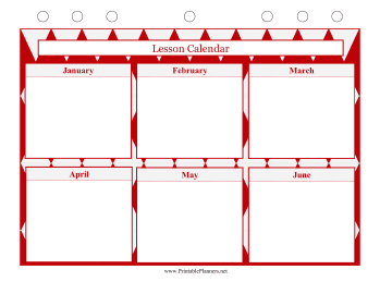 Printable Lesson Calendar - January to June