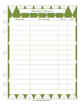 Printable Lesson Material Planner