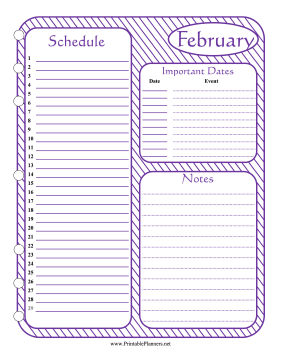 Printable Monthly Planner February