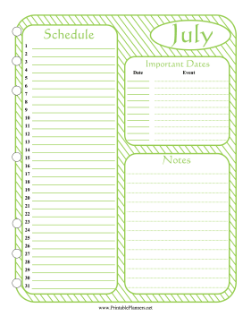 Printable Monthly Planner July