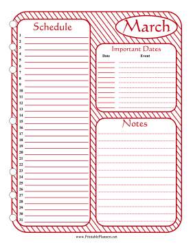 Printable Monthly Planner March