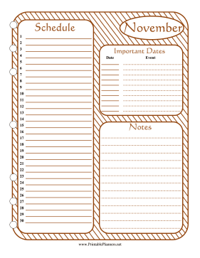 Printable Monthly Planner November