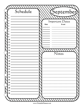 Printable Monthly Planner September