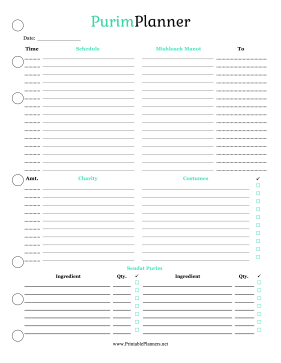 Printable Purim Planner