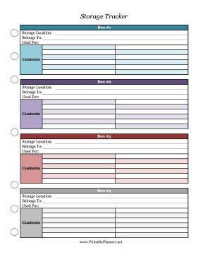 Printable Storage Tracker