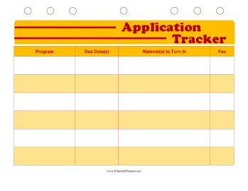 Printable Student Planner — Application Tracker