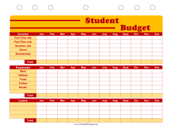 Printable Student Planner — Budget