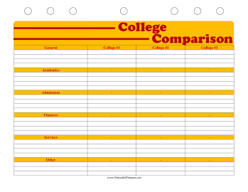 Printable Student Planner — College Comparison