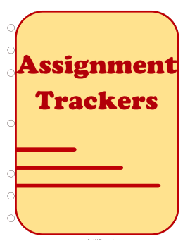 Printable Student — Assignment Trackers (cover page)