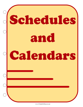 Printable Student Planner — Schedules (cover page)