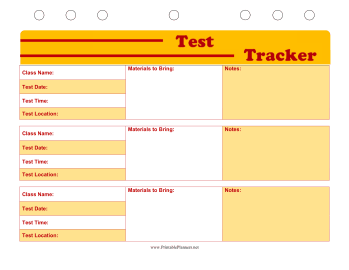 Printable Student Planner — Test Tracker
