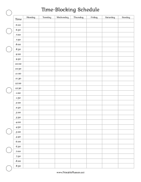 Printable Time-Blocking Schedule