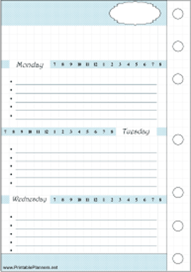Printable Timeline Bullet Journal Mon-Wed