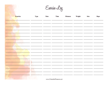 Printable Watercolor Exercise Log