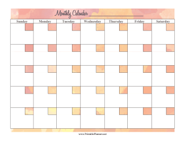 Printable Watercolor Monthly Calendar
