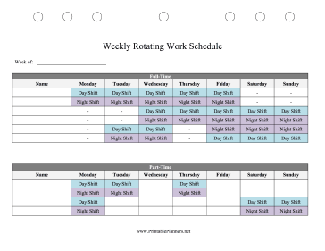 Printable Weekly Rotating Work Schedule