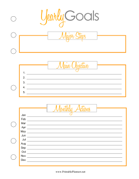 Printable Yearly Goal Planner