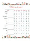 Printable Floral Wellness Tracker