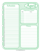 Printable Monthly Planner April