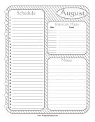 Printable Monthly Planner August