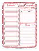 Printable Monthly Planner December
