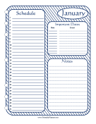 Printable Monthly Planner January